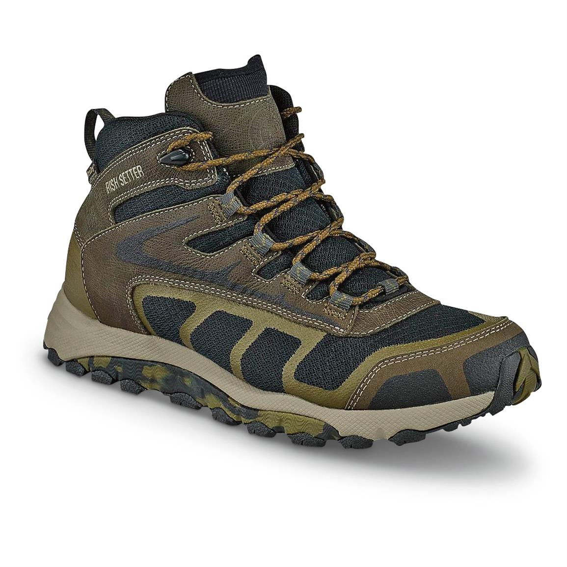 Irish Setter Men's Drifter Trail Waterproof Hiking Boots, Black / Green