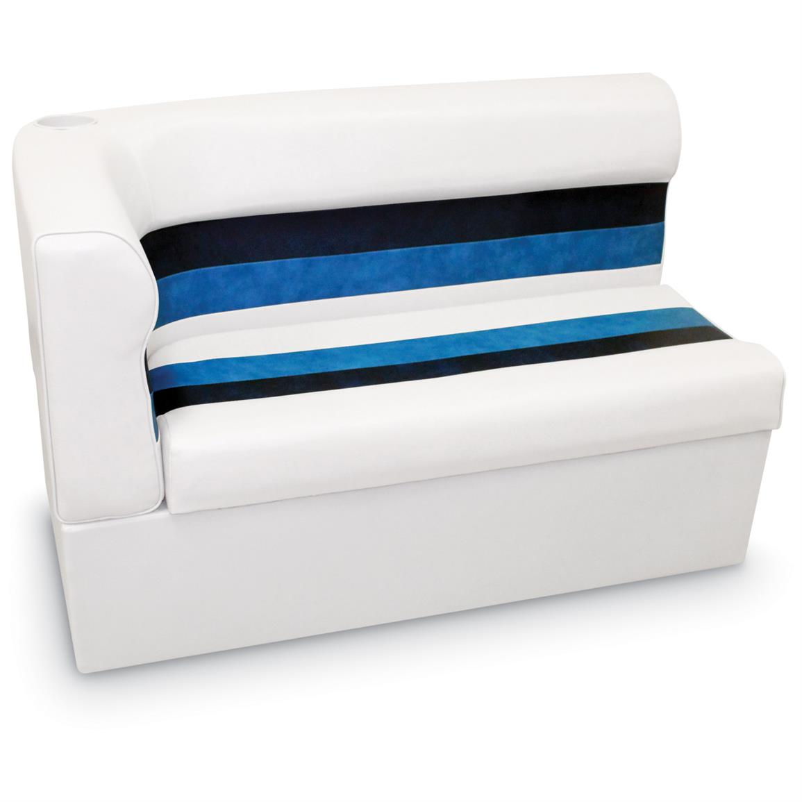 "Wise Long Corner Couch Pontoon Seat, 45"" Radius Right, White / Navy Blue, Color F"