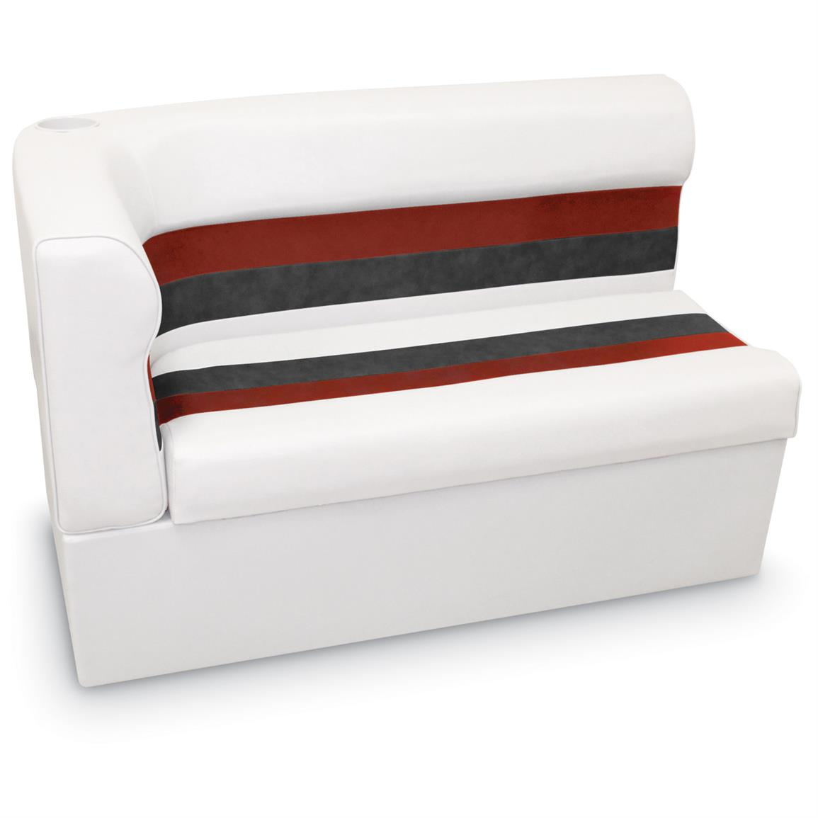 "Wise Long Corner Couch Pontoon Seat, 45"" Radius Right, White / Red Charcoal, Color G"
