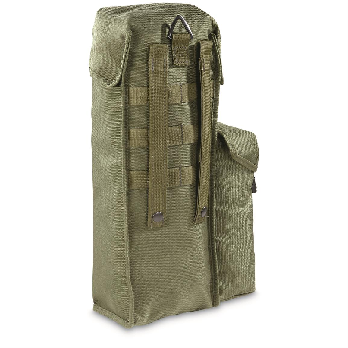"16"" x 5.5"" x 3.5"" with molle straps and belt hook"