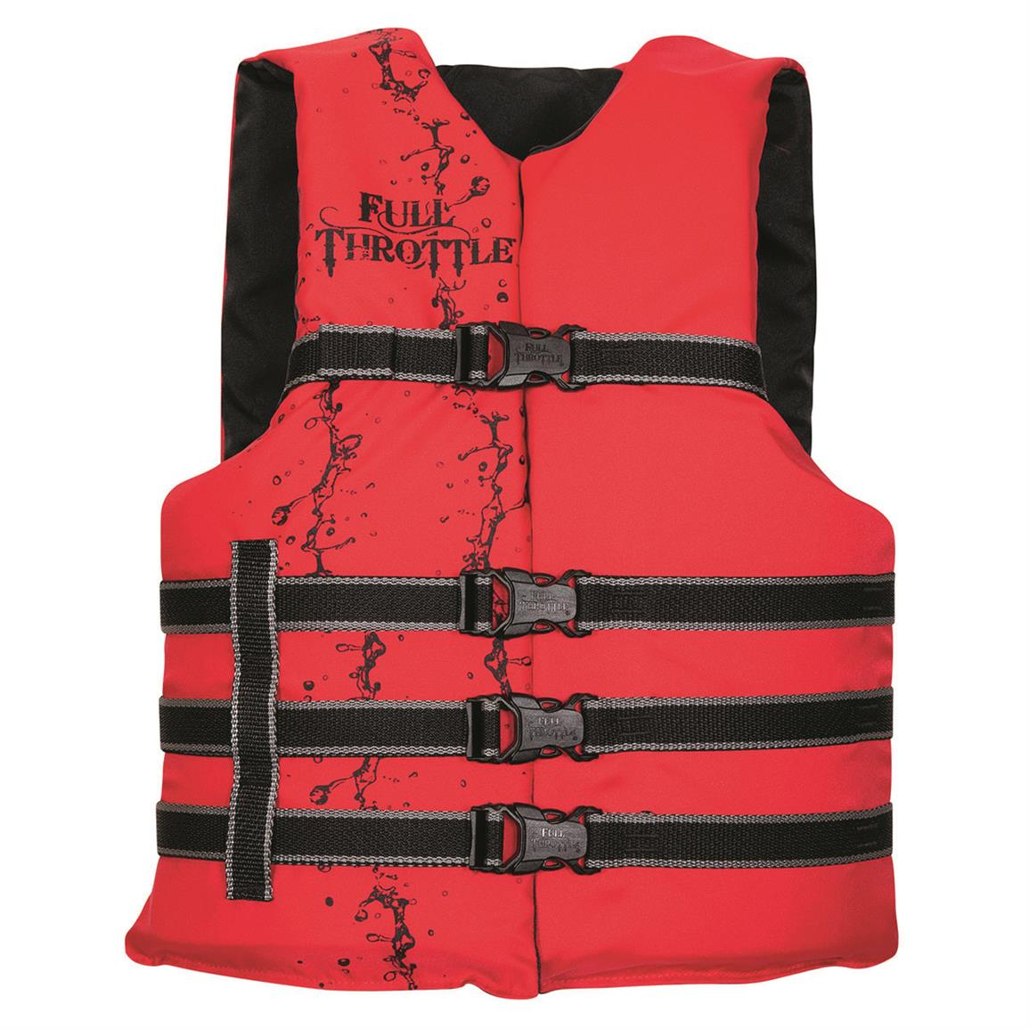 Full Throttle Adult Universal and Oversized Ski Vest, Red