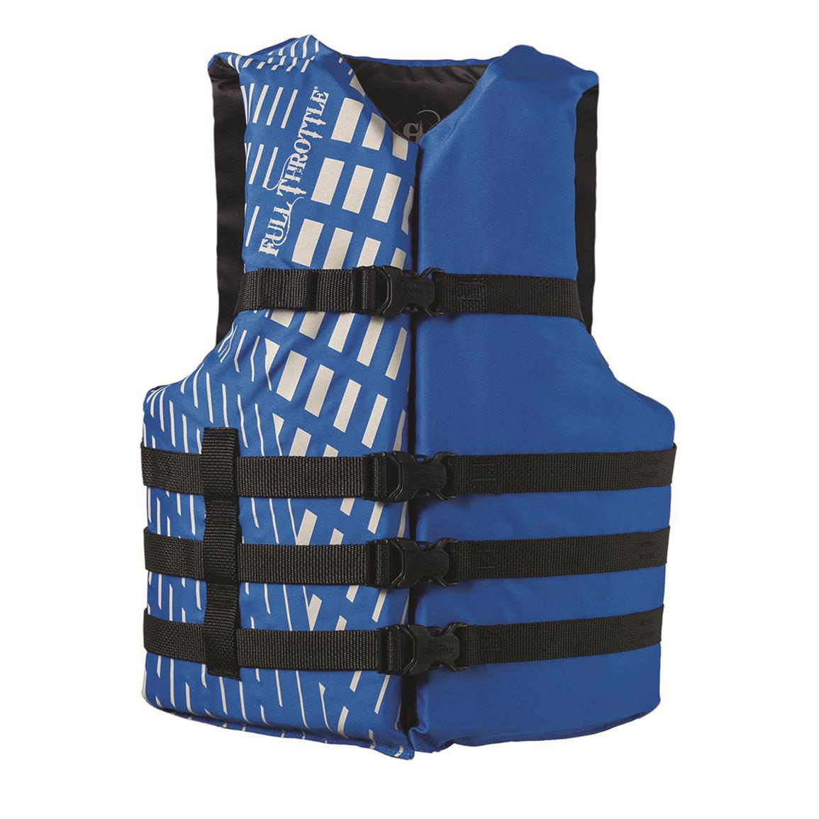 Full Throttle Adult Universal and Oversized Ski Vest, Blue