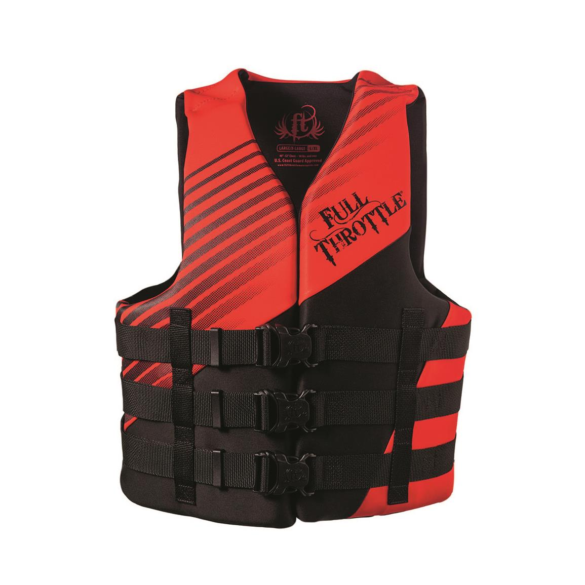 Full Throttle Adult Rapid-Dry Vest, Red