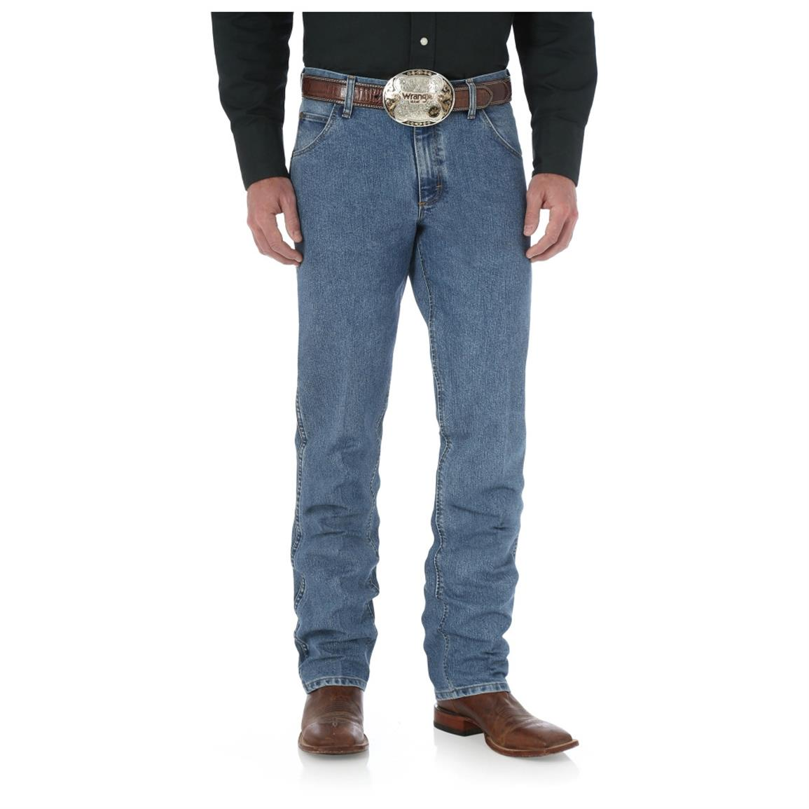 Wrangler Men's Premium Performance Cool Vantage Cowboy Cut Regular Fit Jeans, Light Stone