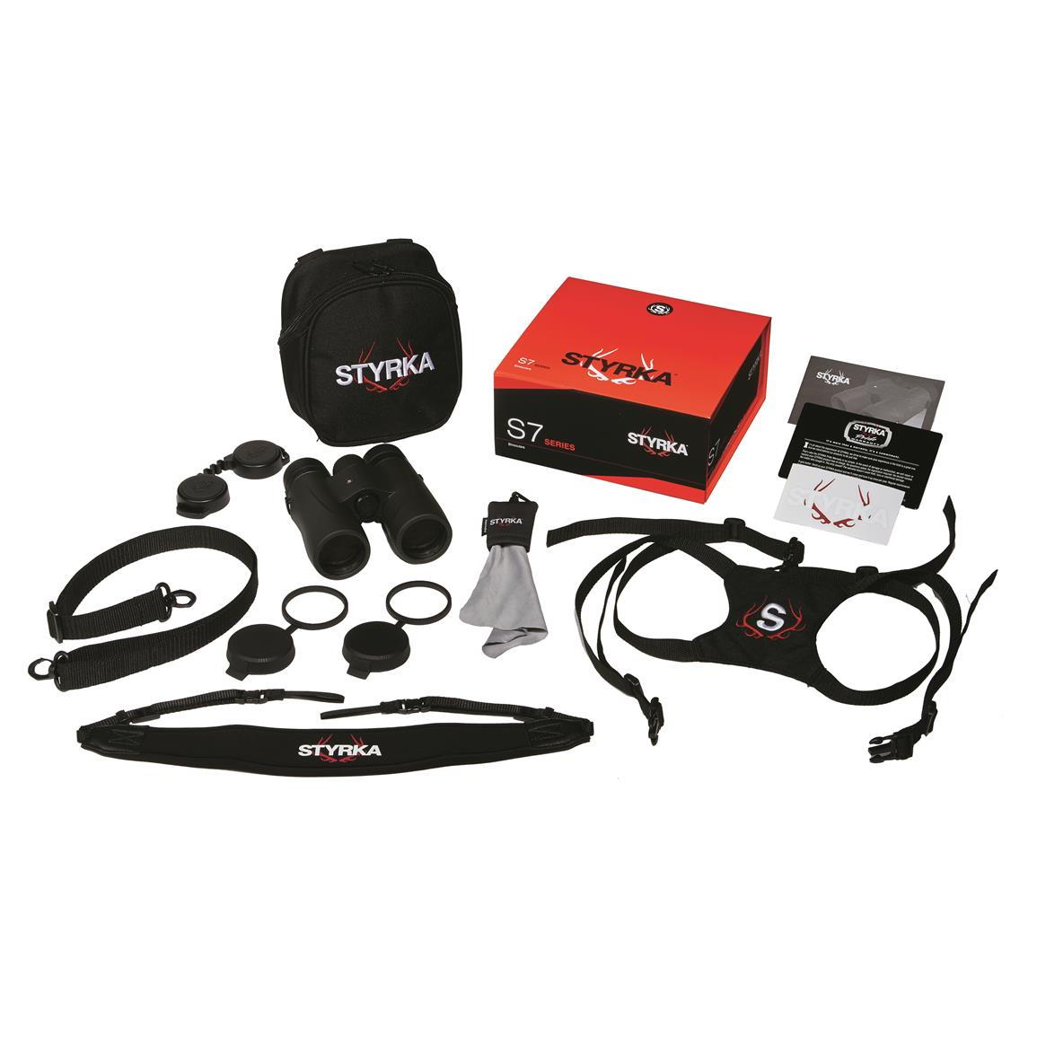 Includes tethered lens covers, padded neck strap, cleaning cloth and custom carry case with harness.