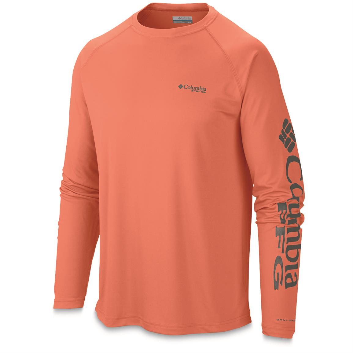 Columbia men 39 s pfg terminal tackle long sleeve crew shirt for Columbia fishing gear