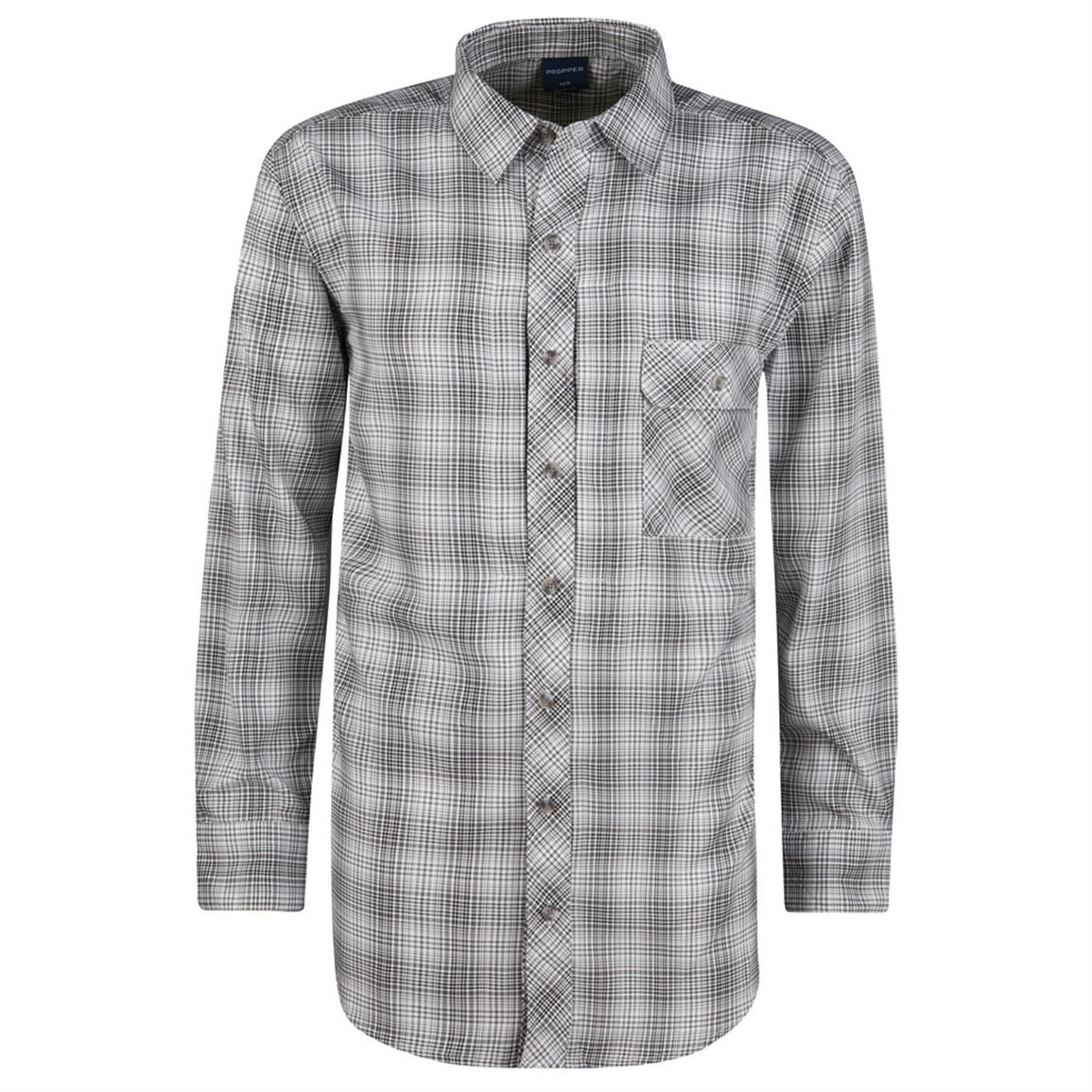 Propper Men's Covert  Button-Up Long Sleeve Shirt, Steel Gray, STEEL GREY PLAID