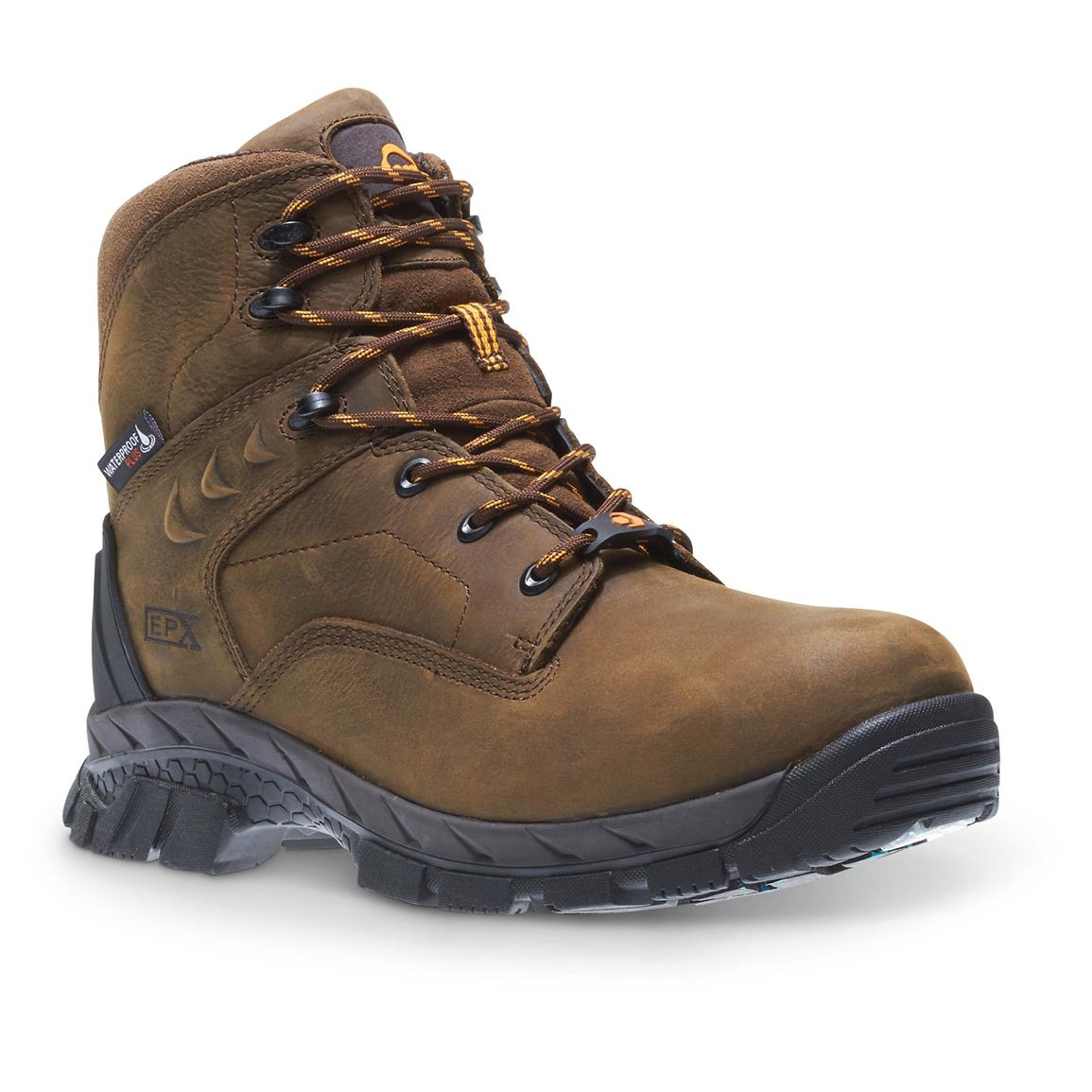 "Wolverine Men's Glacier Ice Waterproof 6"" Insulated Composite Toe Work Boots, 400 gram, Brown"