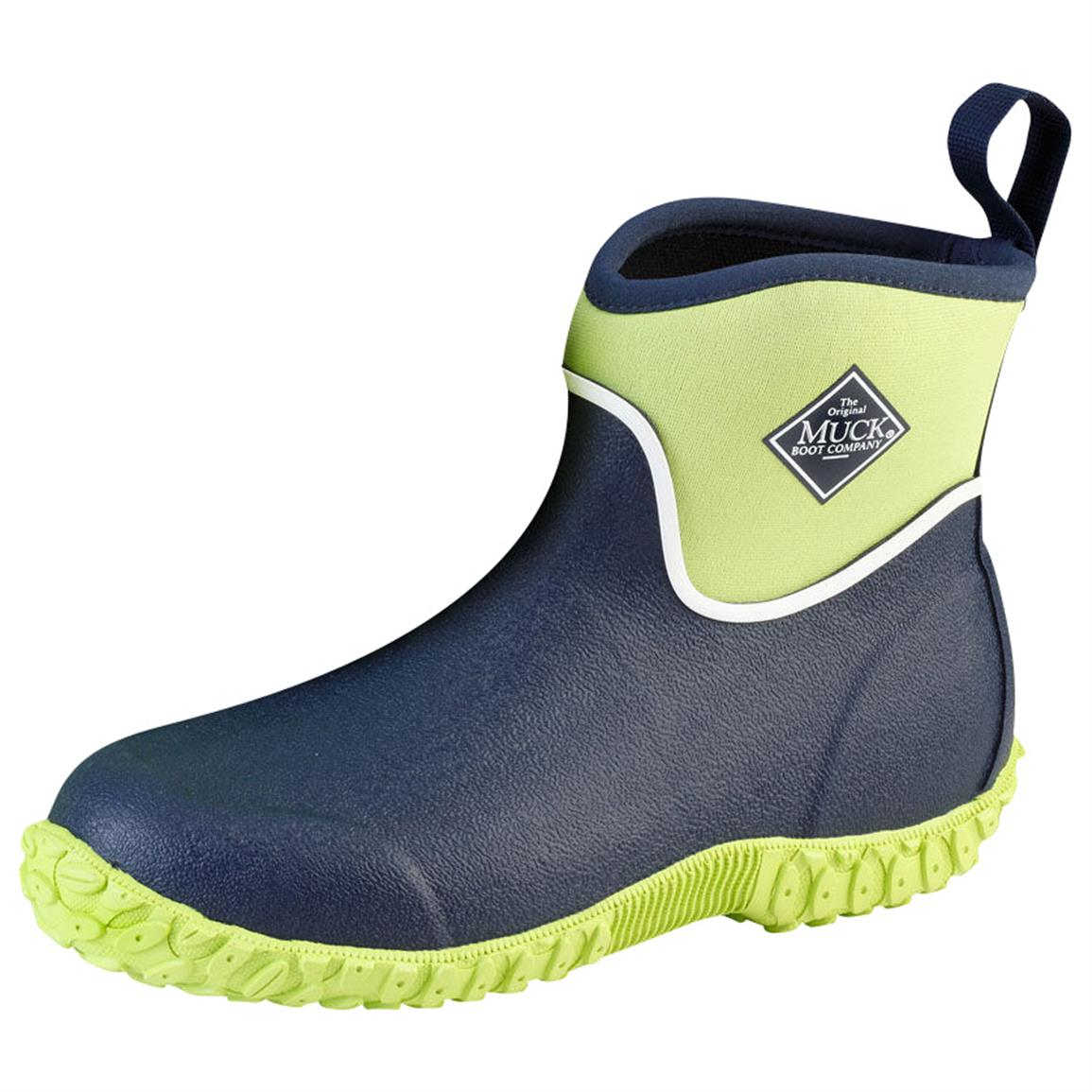 Muck Boot Kids' Muckster II Ankle Waterproof Boots, Navy / Lime Green