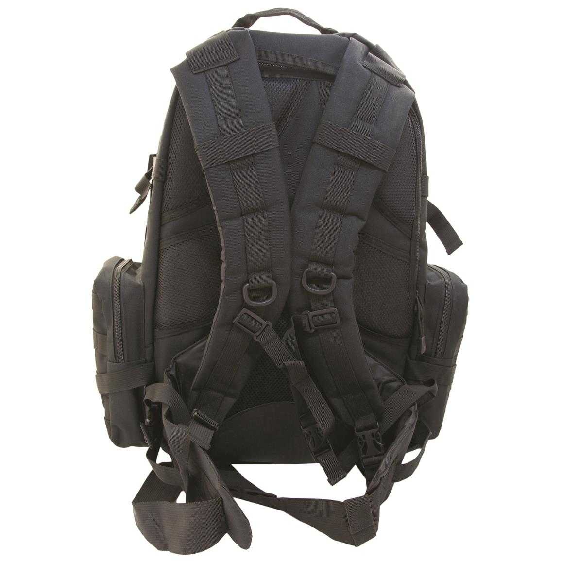 Humvee 3-Day Assault Backpack, Black, Back