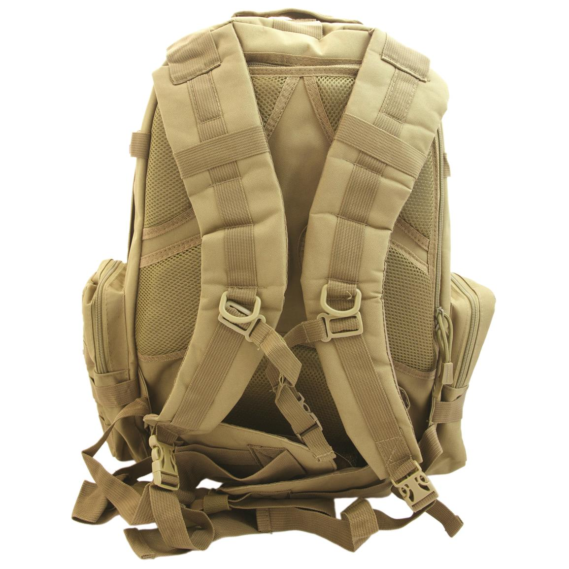 Humvee 3-Day Assault Backpack, Tan, Back