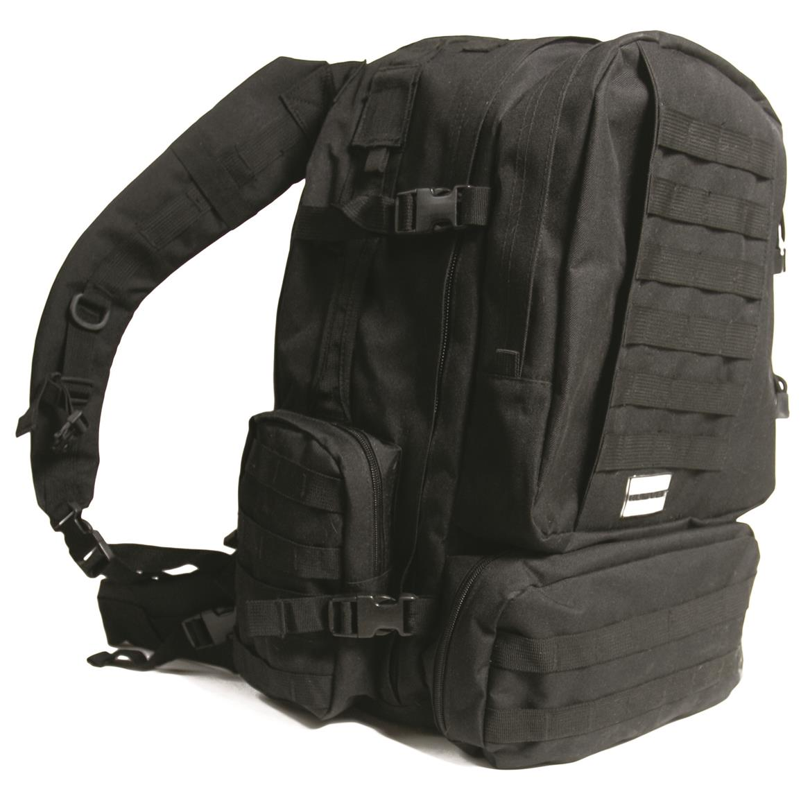 Humvee 3-Day Assault Backpack, Black, Side