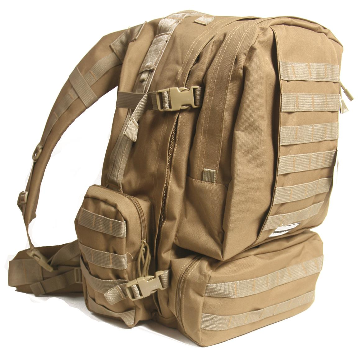 Humvee 3-Day Assault Backpack, Tan, Side