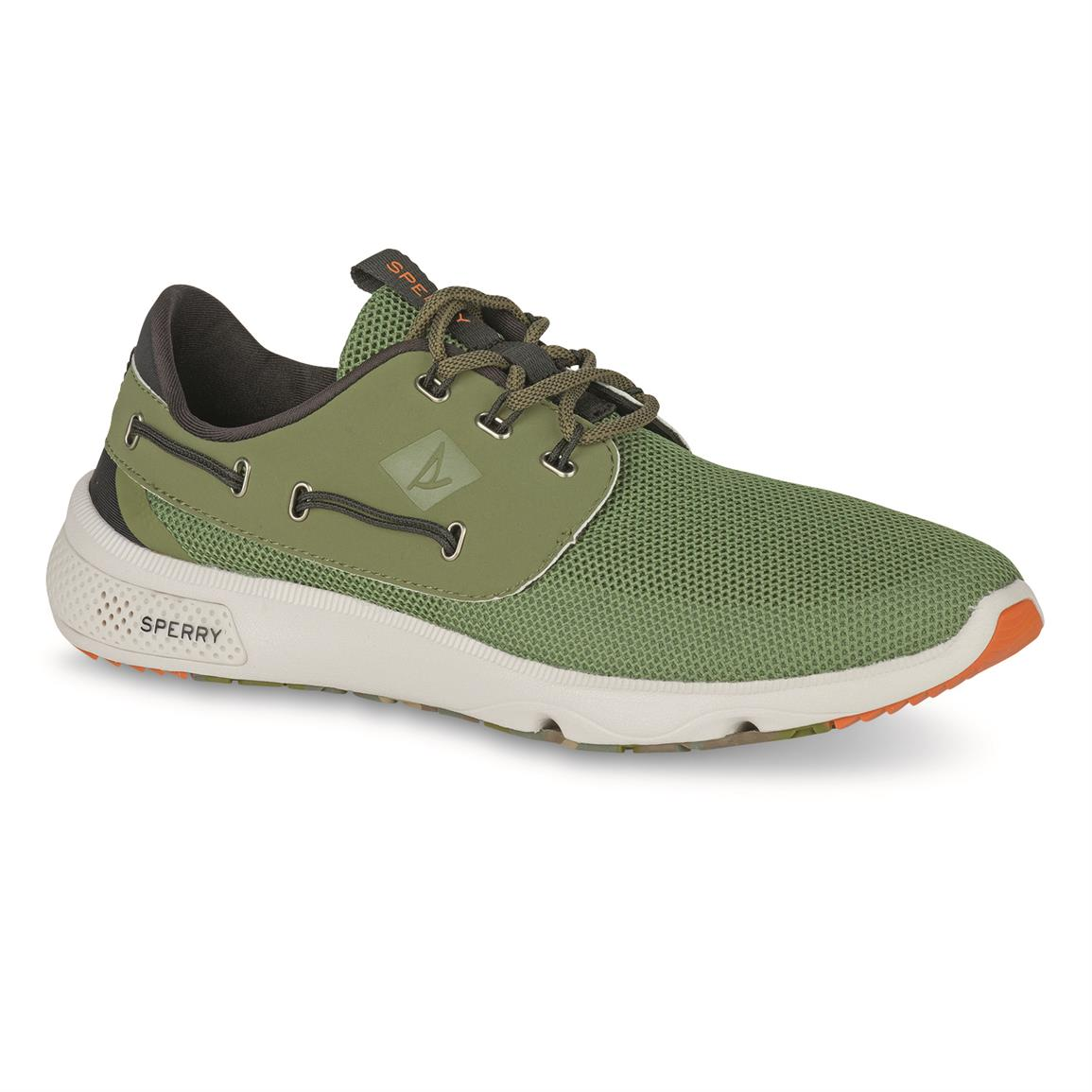 Sperry Men's 7 Seas 3 Eye Boat Shoes, Olive Camo