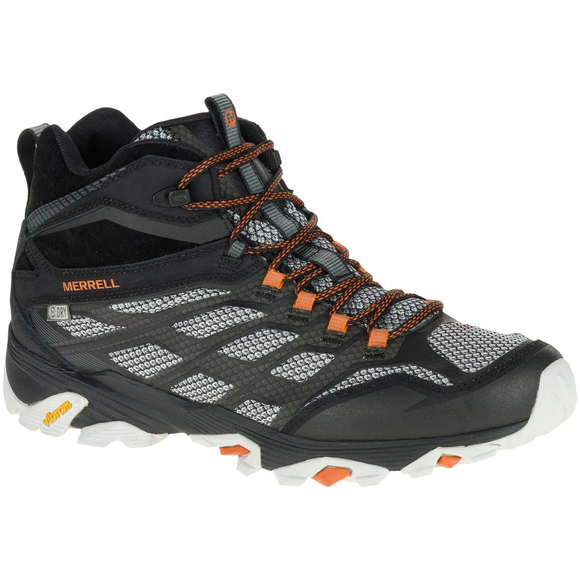 Merrell Men's Moab FST Mid Waterproof Hiking Boots, Black