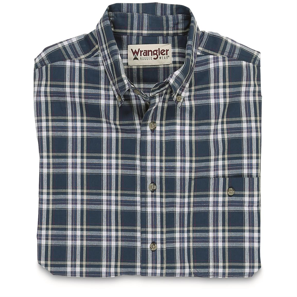 Wrangler Men's Blue Ridge Short Sleeve Plaid Shirt, Blue