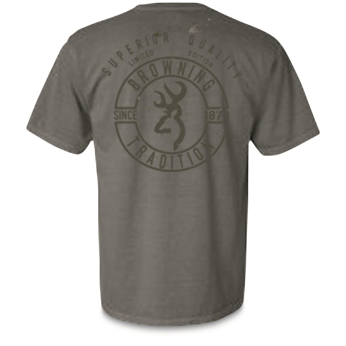 Browning Men's Pigment Buckmark Short Sleeve T Shirt, Gray