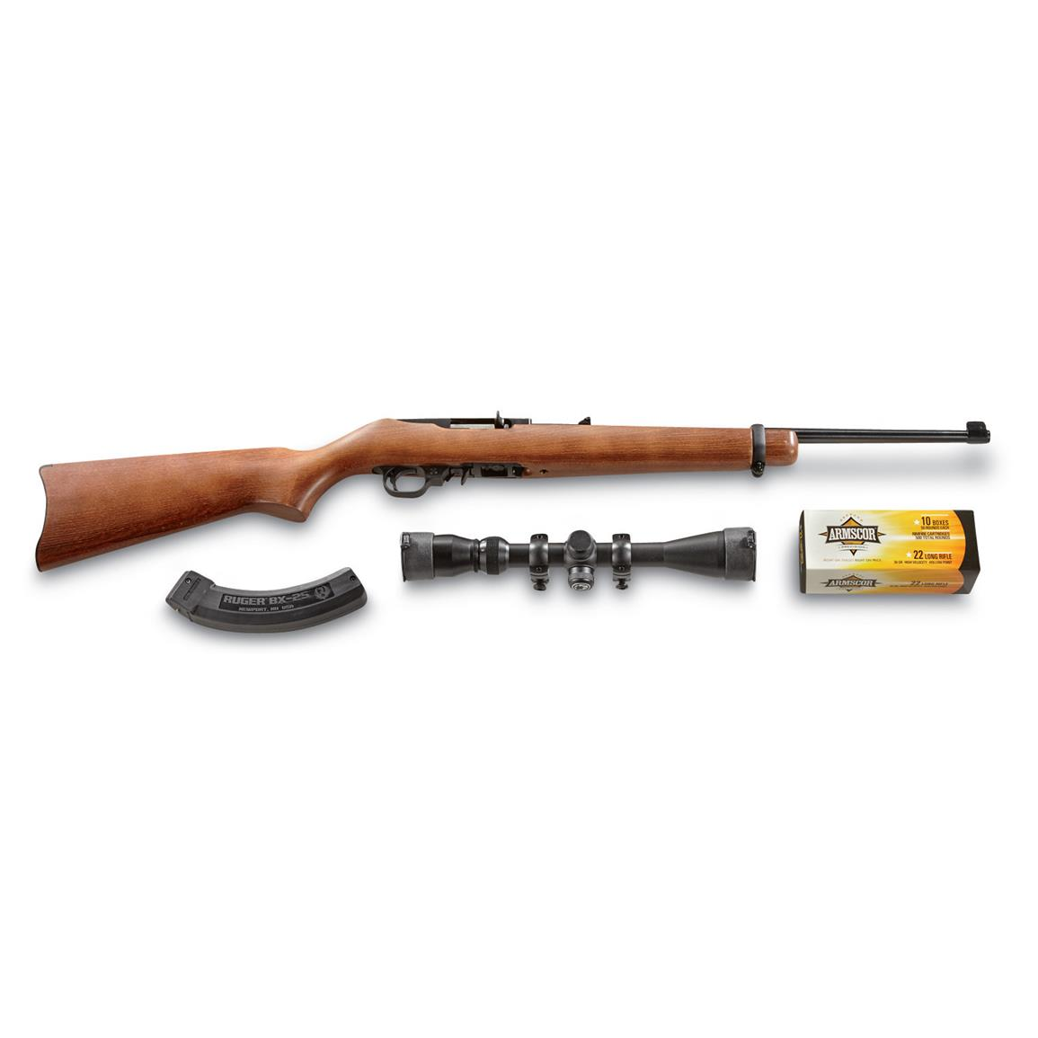 Ruger 10/22 Carbine Shooters' Pack, .22LR, with Barska Scope, 500 Rounds, 25 Round Magazine