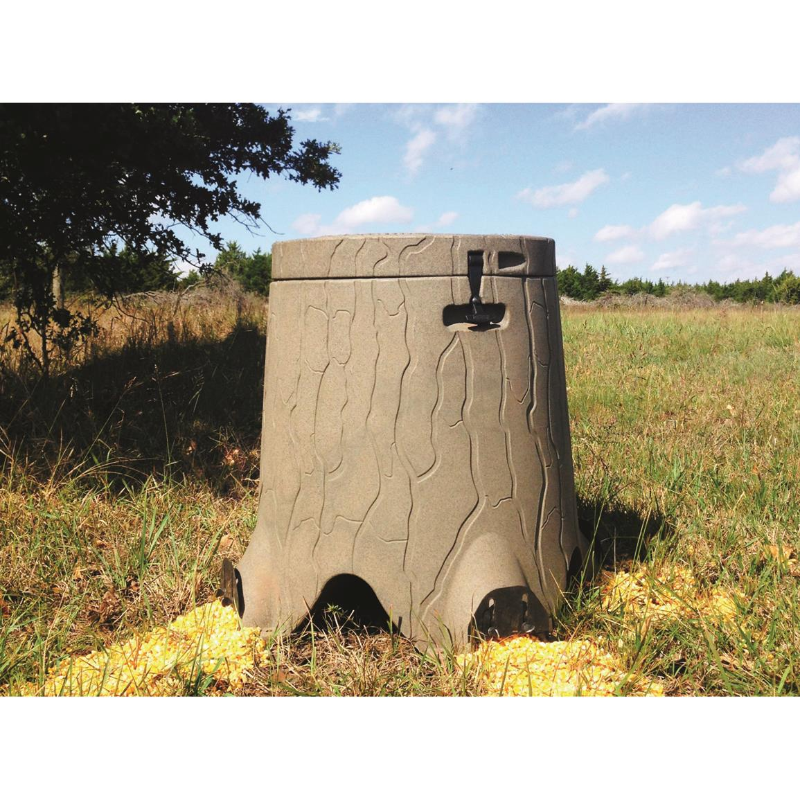 The TruStump 35 Gallon Gravity Deer Feeder Looks Just Like A Real Stump