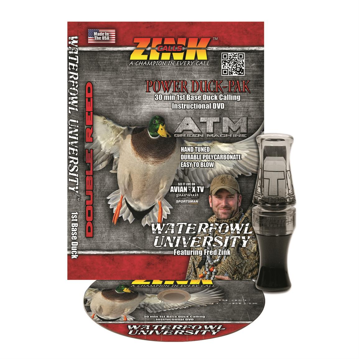 Zink ATM Green Machine Double Reed Polycarbonate Duck Call and Instructional DVD