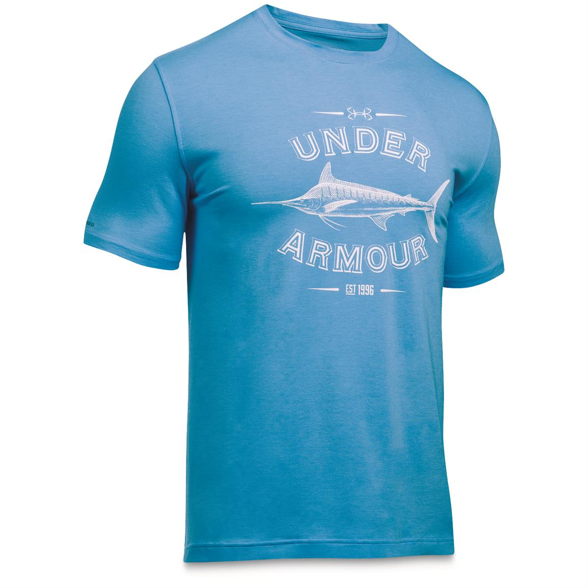 Under Armour Men's Classic Fish Tees, Marlin/Carolina Blue