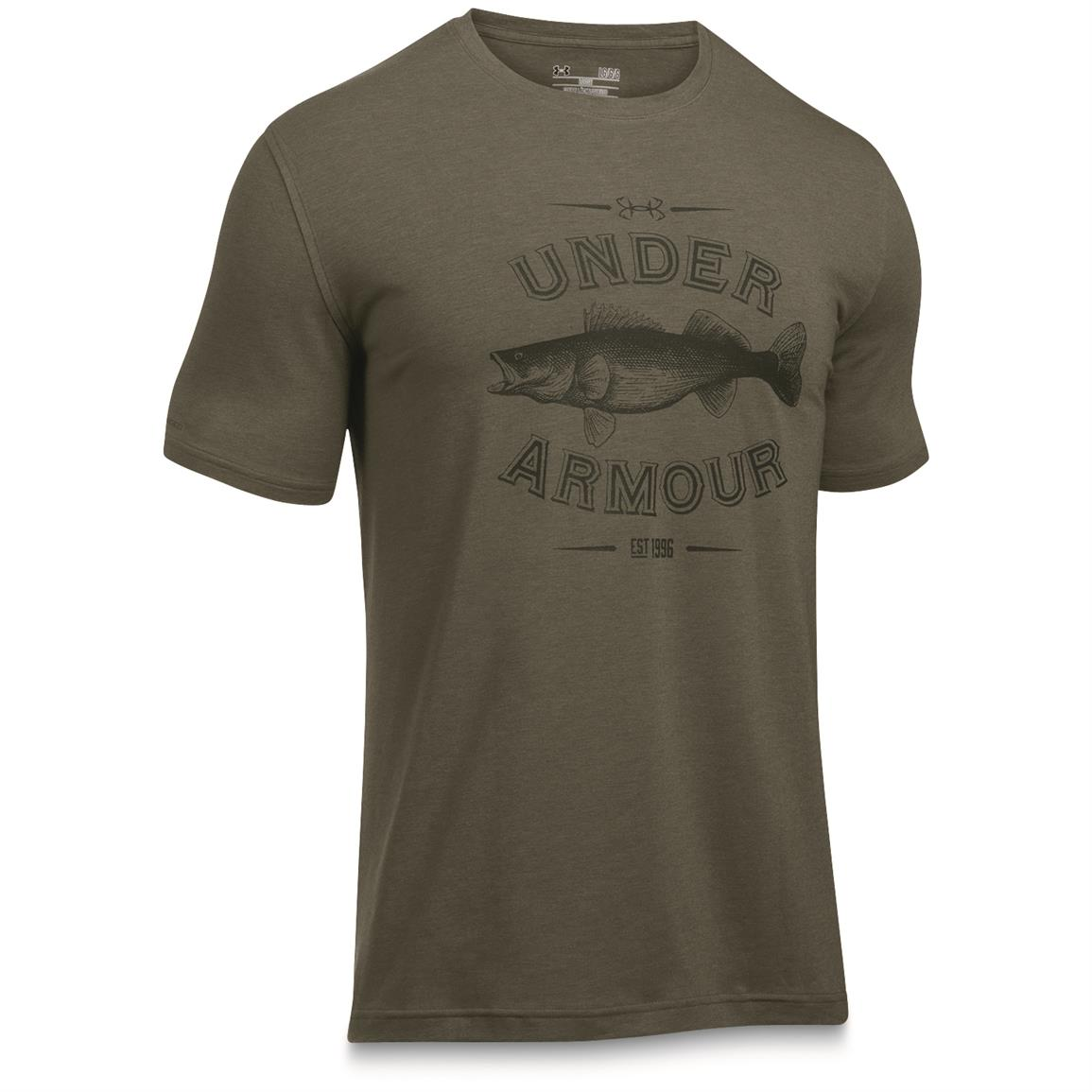 Under Armour Men's Classic Fish Tees, Walleye/Foliage Green