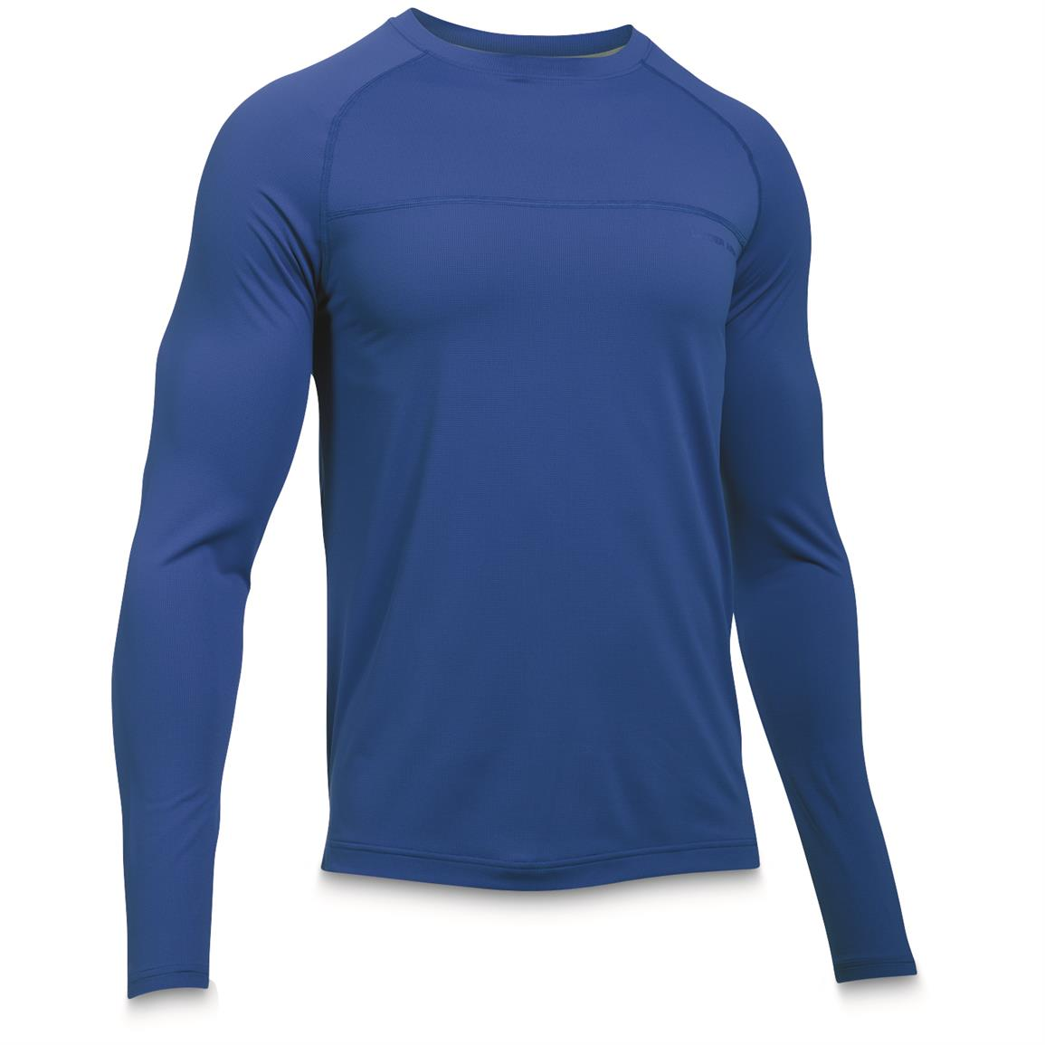 Under Armour Men's Sunblock Long Sleeve Tee, UPF 50+, Blue Marker