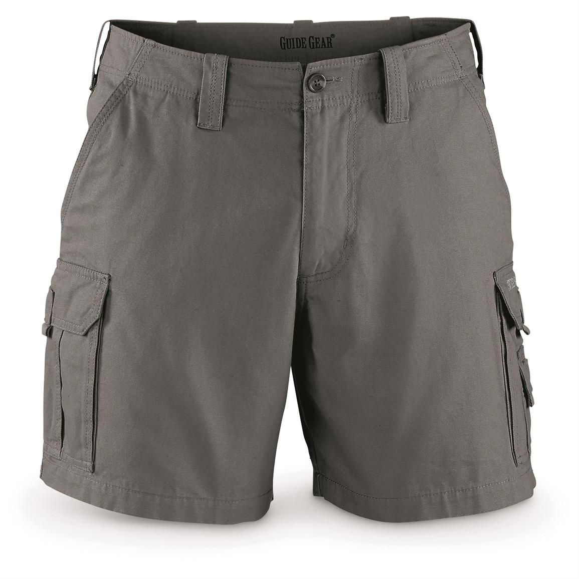 "Guide Gear Men's Outdoor Cargo Shorts, Gray, 6"" inseam"