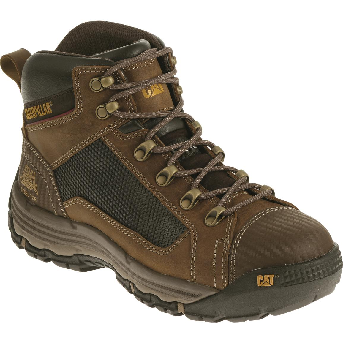 Cat Men's Convex Mid Steel Toe Work Boots, Dark Beige