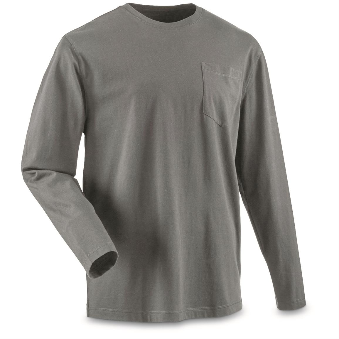 Guide Gear Men's Stain Kicker Long Sleeve Pocket T Shirt With Teflon, Gray