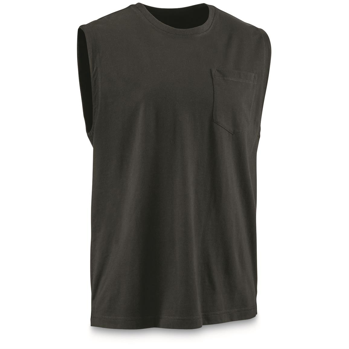 Guide Gear Men's Stain Kicker Sleeveless Pocket T Shirt With Teflon, Black