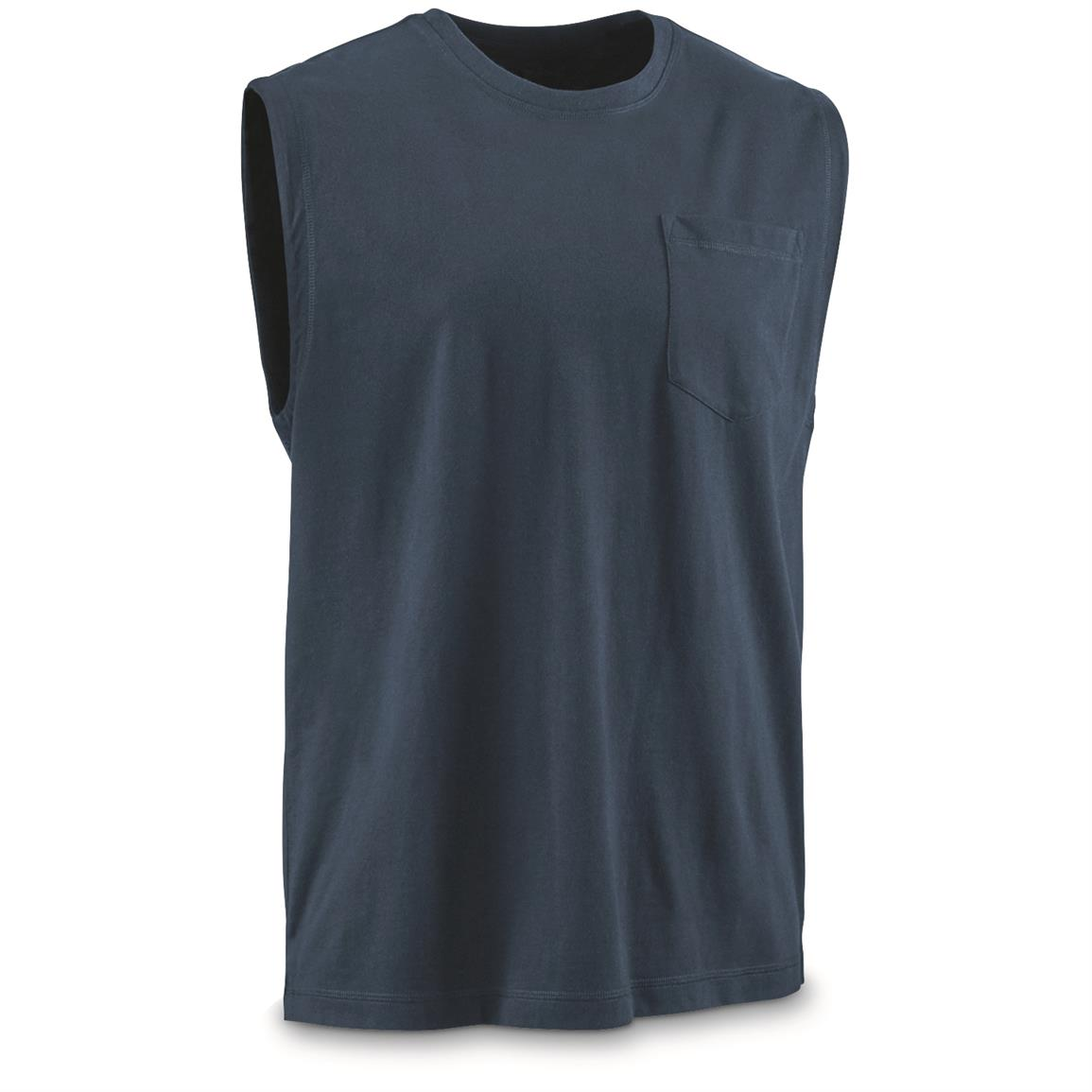 Guide Gear Men's Stain Kicker Sleeveless Pocket T Shirt With Teflon, Indigo Blue
