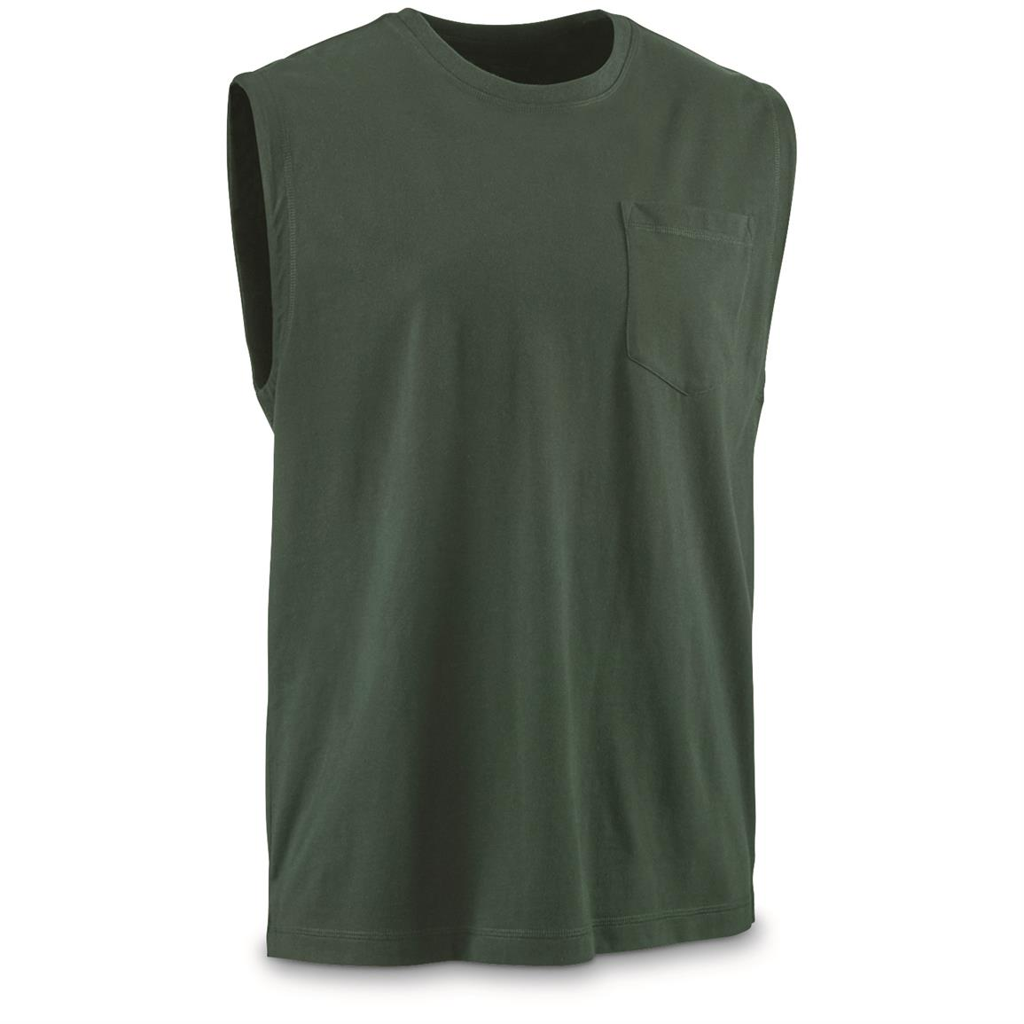 Guide Gear Men's Stain Kicker Sleeveless Pocket T Shirt With Teflon, Pine