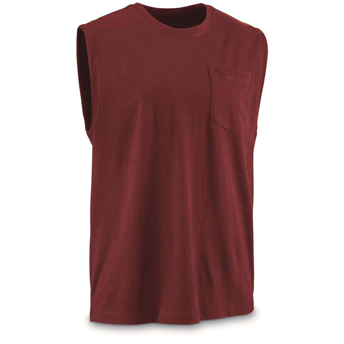 Guide Gear Men's Stain Kicker Sleeveless Pocket T Shirt With Teflon, Red Cardinal