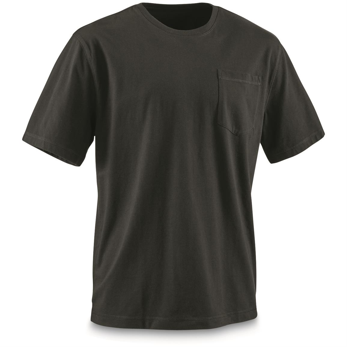Guide Gear Men's Stain Kicker Short Sleeve Pocket T Shirt With Teflon, Black