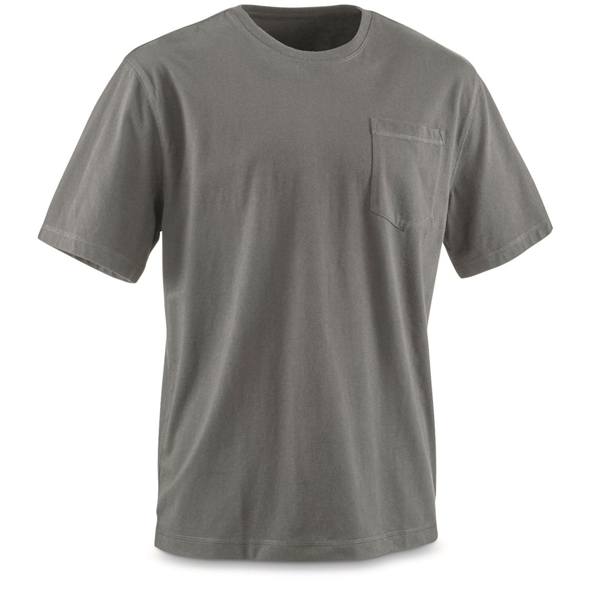 Guide Gear Men's Stain Kicker Short Sleeve Pocket T Shirt With Teflon, Gray