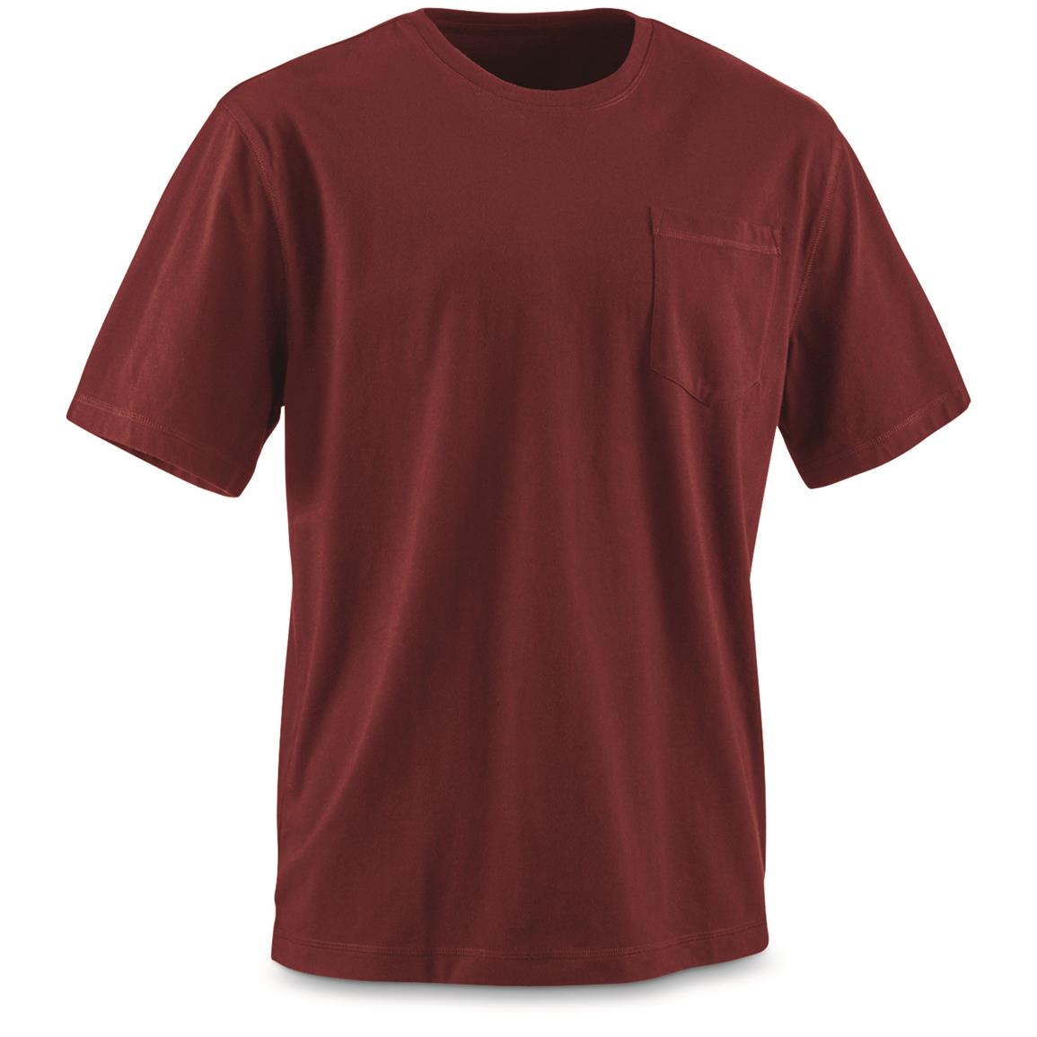 Guide Gear Men's Stain Kicker Short Sleeve Pocket T Shirt With Teflon, Red Cardinal
