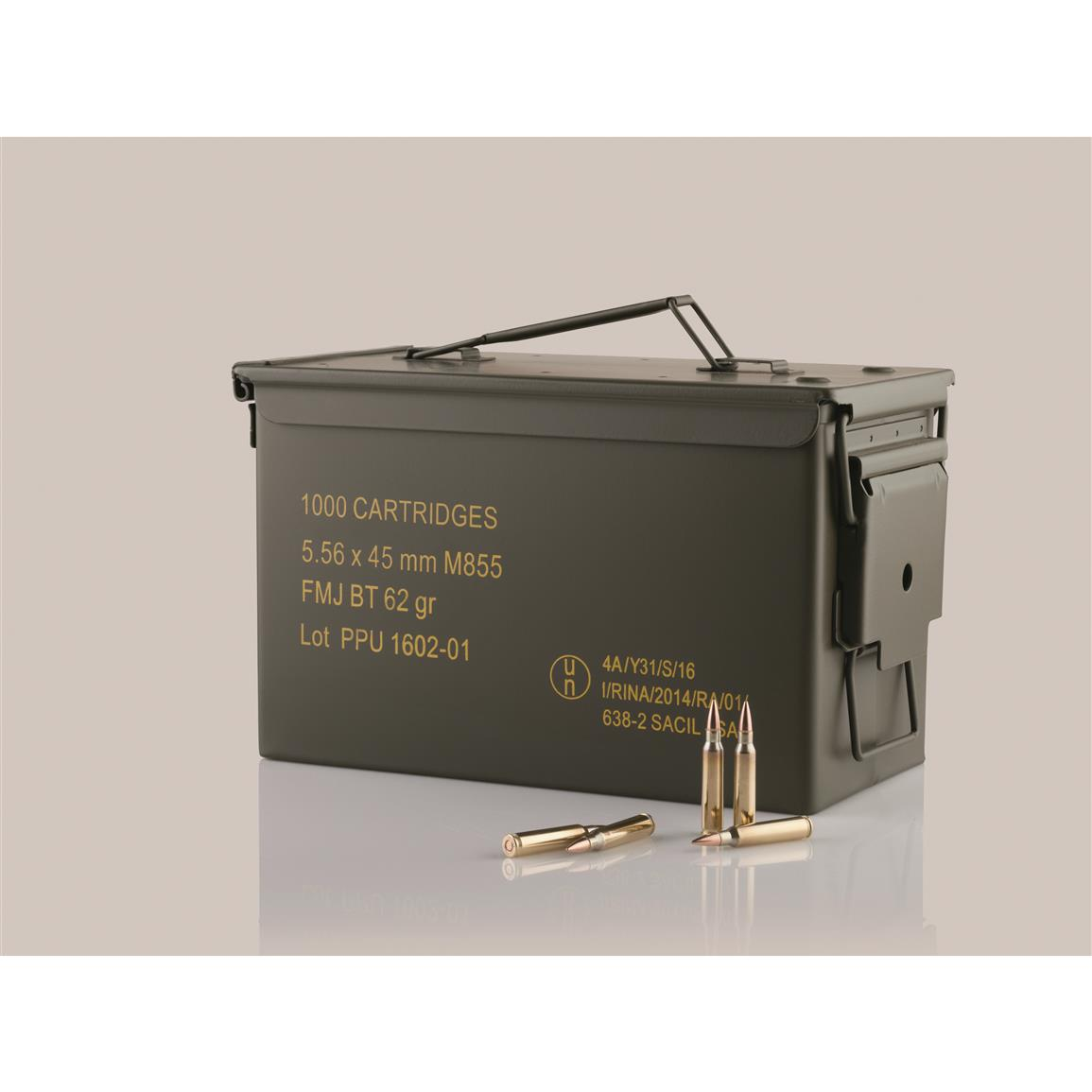 PPU Steel Core Penetrator Ammo with Can, .223/5.56, 62 Grain, 1,000 Rounds