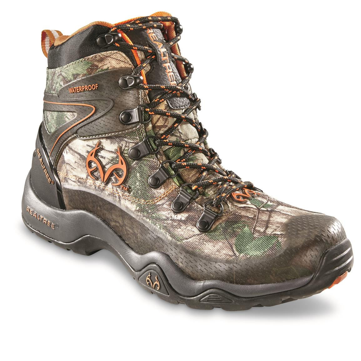 Realtree Men's Outfitters Ridge Waterproof Hunting Boots, Black/Realtree Xtra