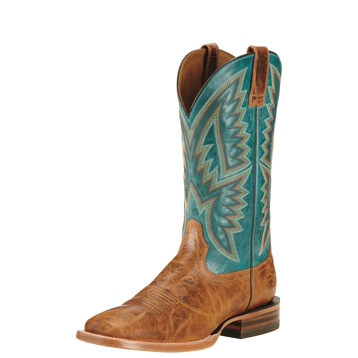 Ariat Men's Hesston Western Boots, Tan/Teal Blue