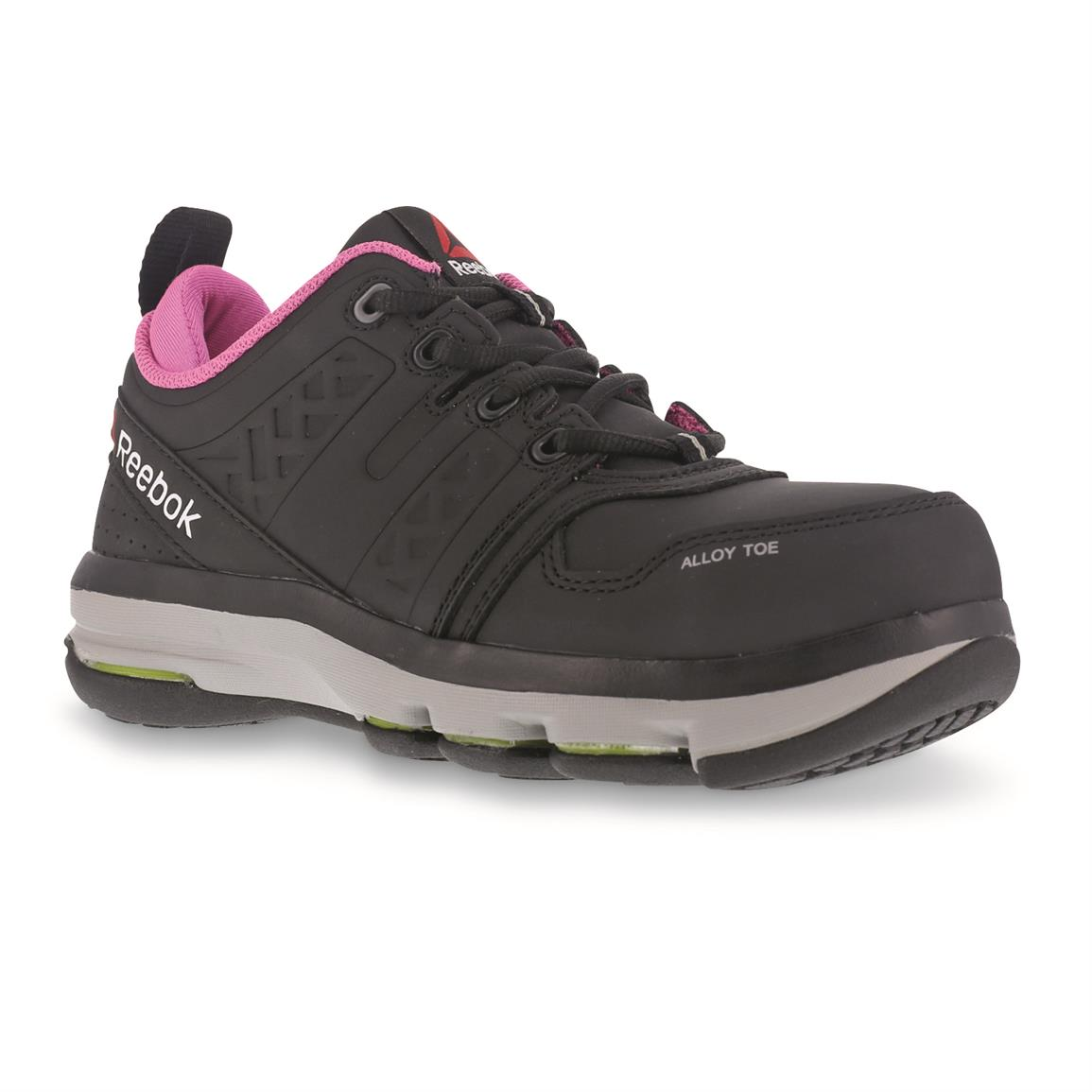 Reebok Women's DMX Flex Work Composite Toe Work Shoes, Black/Pink