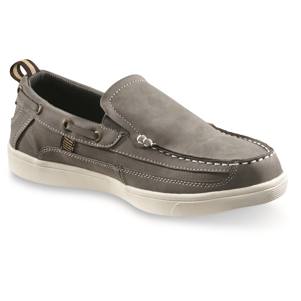 Hang Ten Men's Pier Slip-On Boat Shoes, Gray