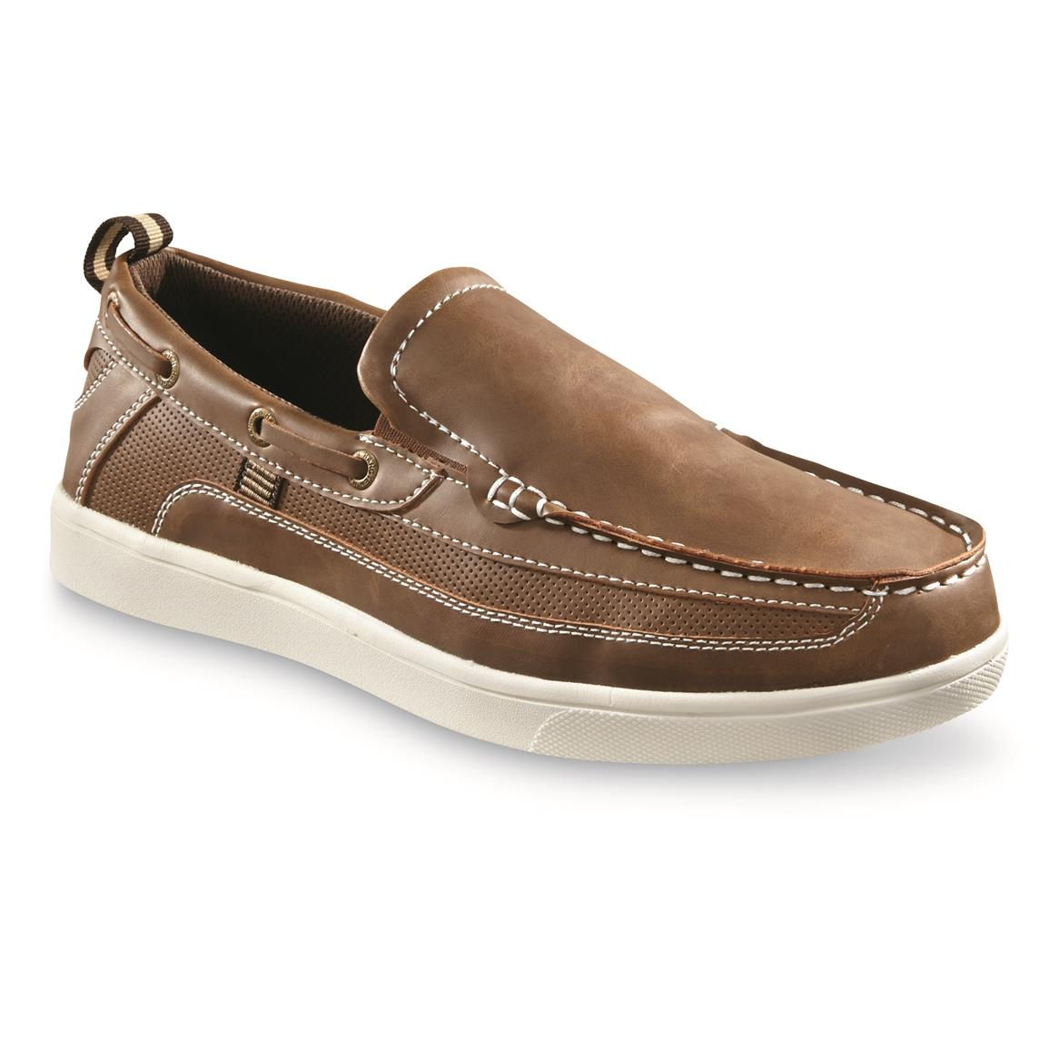 Hang Ten Men's Pier Slip-On Boat Shoes, Brown