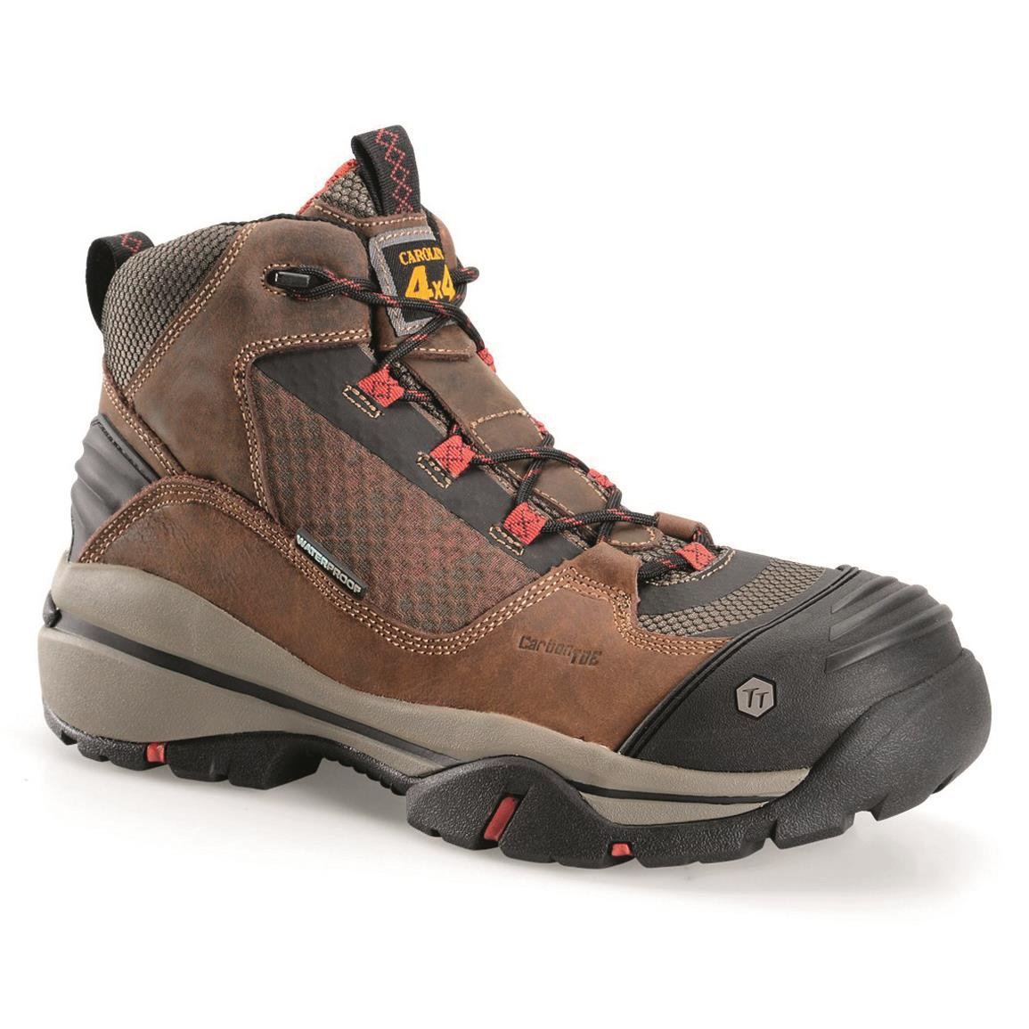 "Carolina Men's 5"" Waterproof Carbon Composite Toe 4x4 Hiker Work Boots, Brown/red"