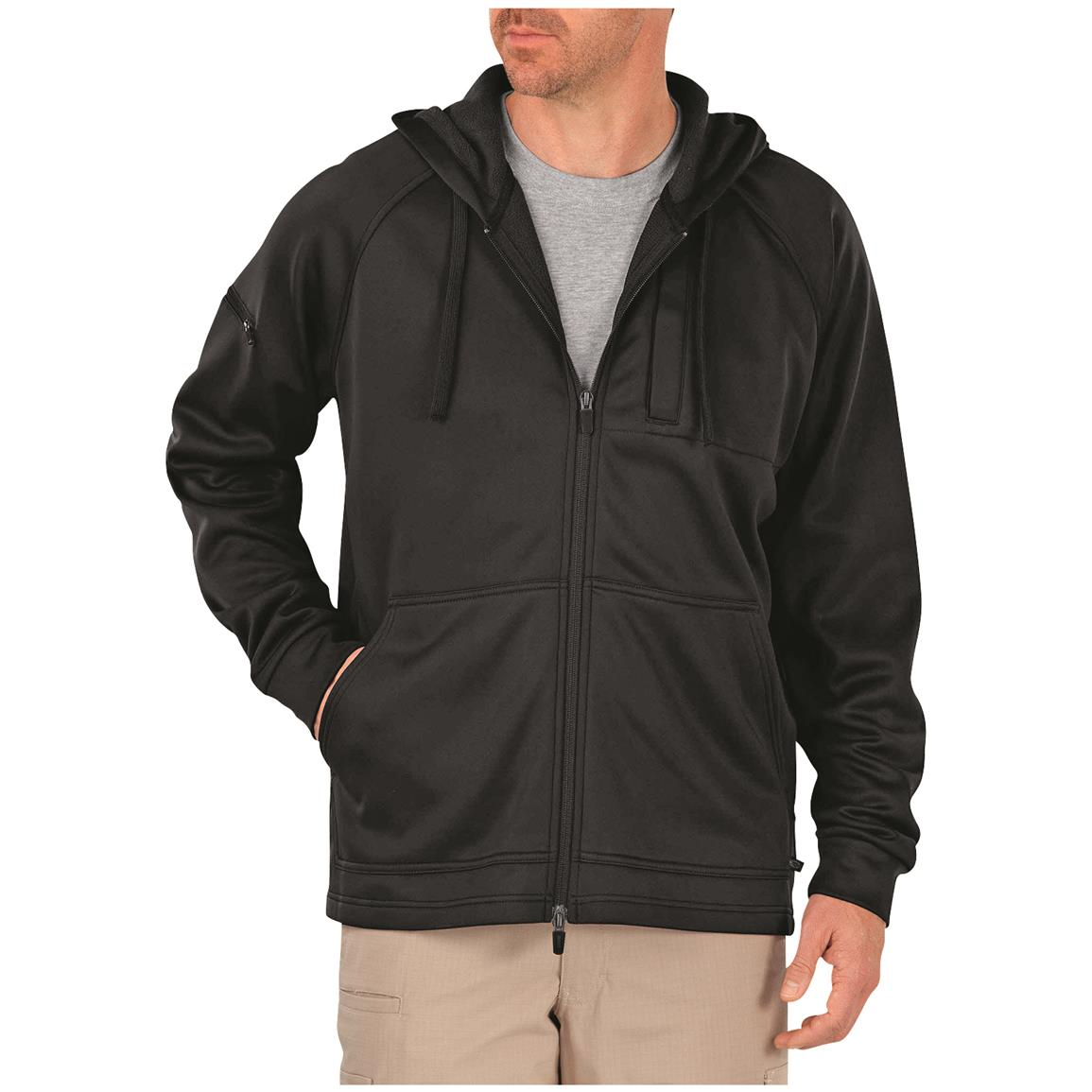 Dickies Men's Tactical Full Zip Performance Fleece Hoodie, Black
