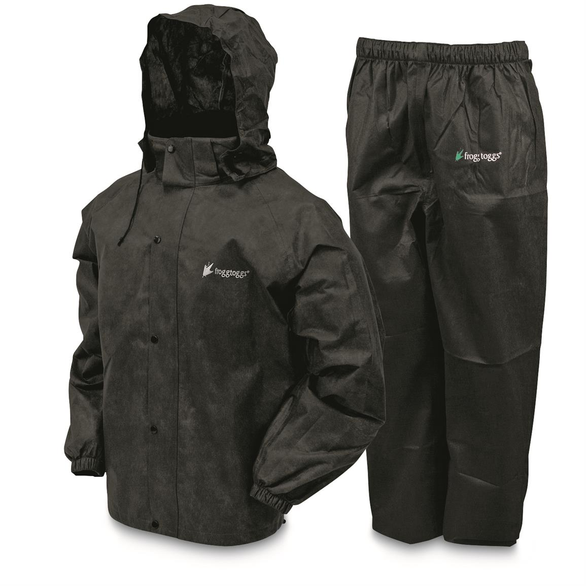 Frogg Toggs Men's Waterproof All Sport Rain Suit, Black/Black