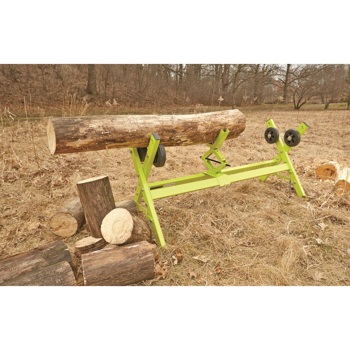 V-shaped log cradle to secure various logs