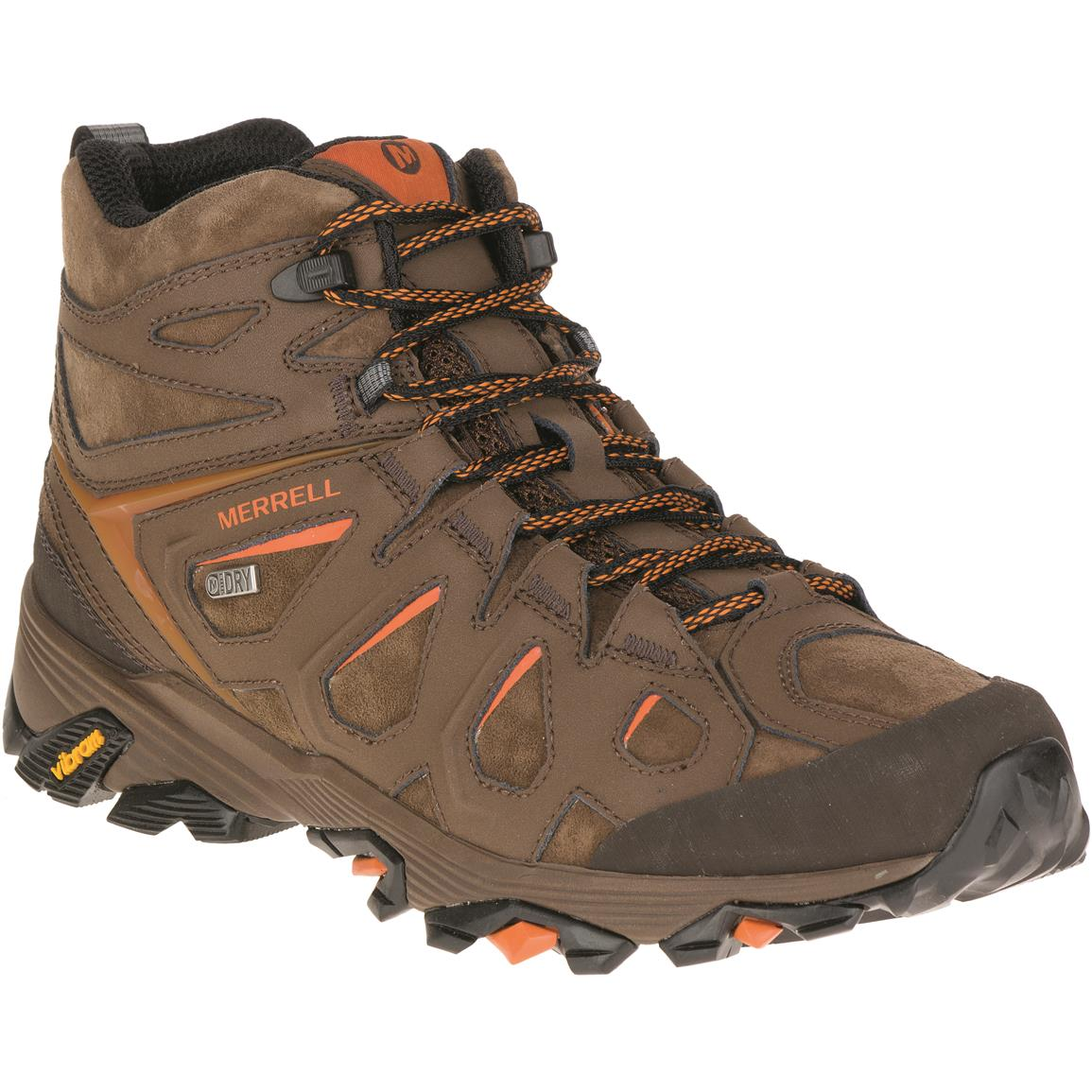 Merrell Men's Moab FST Leather Mid Waterproof Hiking Boots, Dark Earth