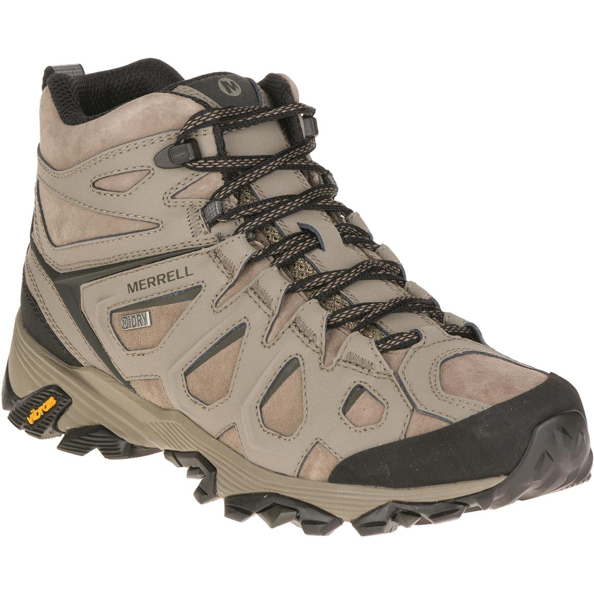 Merrell Men's Moab FST Leather Mid Waterproof Hiking Boots, Boulder