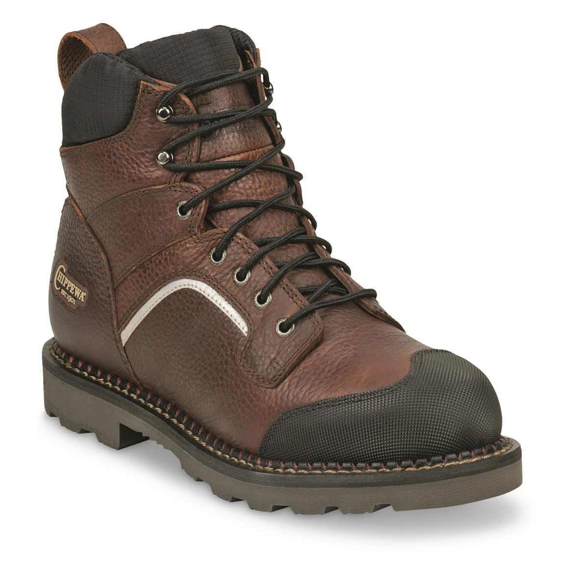 "Chippewa Men's Waterproof 6"" Fall Flame XOG Composite Toe Work Boots, Brown"
